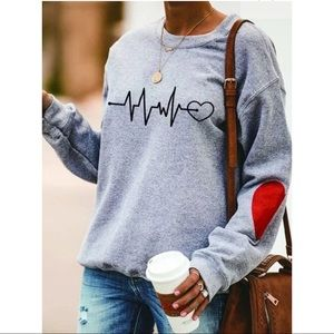 Gray Heartbeat Pullover